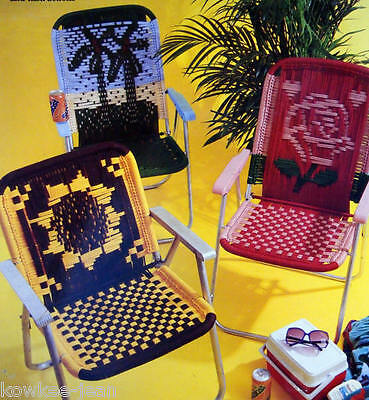 Macrame LAWN CHAIR patterns: cow, sunflower, spider, bee, palm trees, dinosaur +