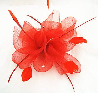 Fascinator Hair Clip Brooch Buttonhole Flower Feathers Rhinestone