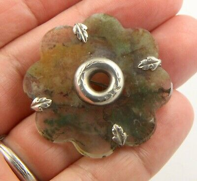 Antique Victorian c1890 sterling silver Scottish moss agate brooch pin