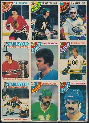 1978-79 O-Pee-Chee Uncut 9 card Panel  (Stanley Cup, Middleton, Russell )