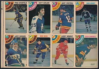 1978-79 O-Pee-Chee Uncut 8 card Panel  (Stanfield, Croteau, Campbell )