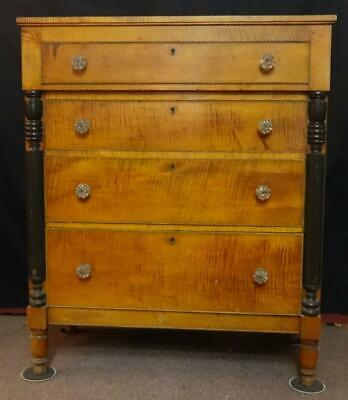 Antique American Sheraton Tiger Maple & Cherry Chest of Drawers Ca. 1820