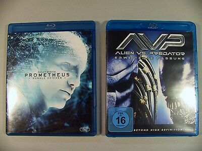 2 Blu-Ray Disc Bluray Prometheus + Alien VS Predator erweiterte Fassung Top