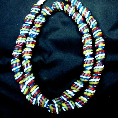"Rare 23"" 43 Beads Ancient Phoenician Spiral Melon Colorful Glass Necklace"