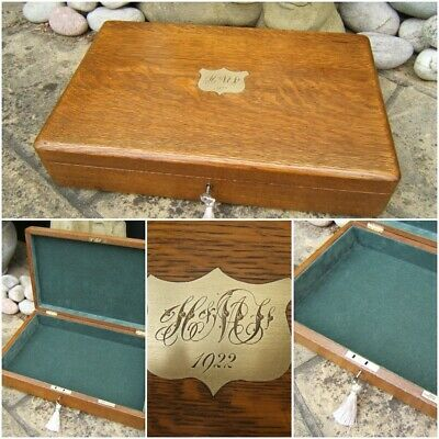 SUPERB VERY LARGE 19c OAK ANTIQUE DOCUMENT/JEWELLERY BOX  FAB INTERIOR