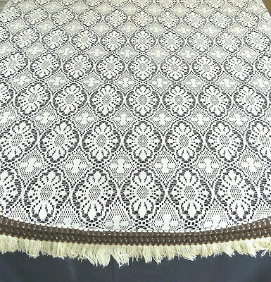 "Vintage Quaker Style Lace Tablecloth Spain 71"" Round Floral Beige"