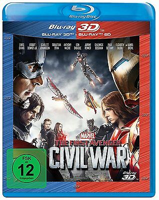 THE FIRST AVENGER: CIVIL WAR (Chris Evans) Blu-ray 3D + Blu-ray Disc NEU+OVP