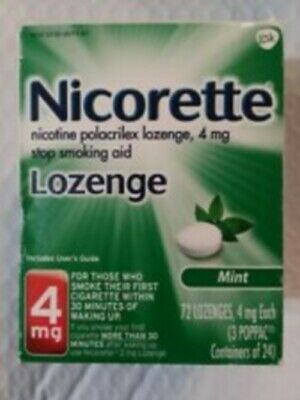 NICORETTE NICOTINE LOZENGE 4 MG MINT 72 PIECES SEALED RETAIL BOX. Exp 9/18