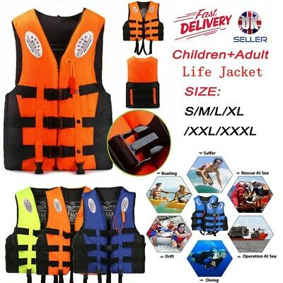 UK Adult Kids Life Jacket Kayak Ski Buoyancy Aid Vest Sailing Fishing Watersport
