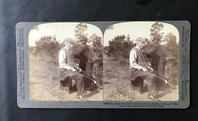 GOLF COLLECTION: Fascinating stereoview with world richest man & caddie 1910s