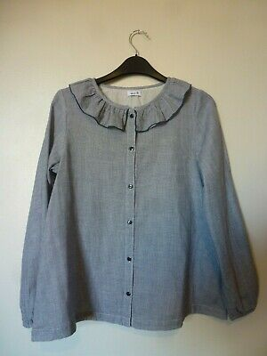 La Redoute Girls Printed Ruffle Neck Blouse Shirt Age 12 Years NEW Navy Check