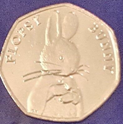2018 FLOPSY BUNNY 50P COIN UNC NEW  BEATRIX POTTER fifty pence from sealed bag