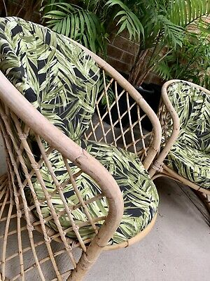 PAIR Vintage 1970's Cane Armchairs Mid Century Bamboo Retro Chairs CAN DELIVER