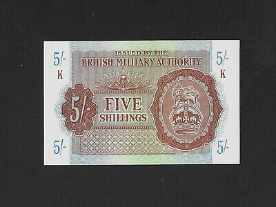 UNC 5 shillings 1943 BRITISH MILITARY AUTHORITY Croatia Cyprus Greece Italy