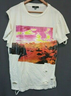 NWT Diesel Women's Ivory T-CYNTH Distressed Desert Graphic T-Shirt Large