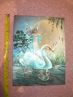 fairy swan fairies Dufex foil art type print card - JH maybe Jean & Ron Henry