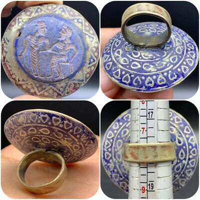 Intact Excellent Old Near Eastern Intaglio Old Enameled Brass Ring #Sai127