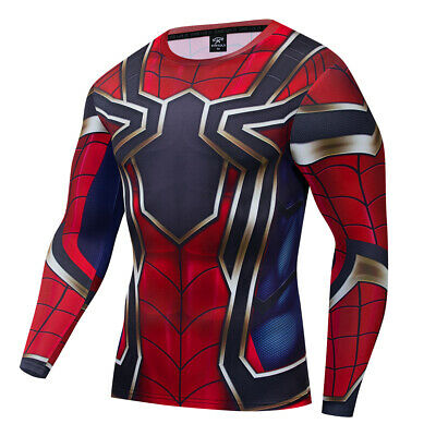 Superhero 3D Compression T-Shirts Tee Gym Fitness Tops Spiderman Tights