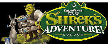 2 x SHREK ADVENTURE TICKETS - SUN 21ST JULY - 1130