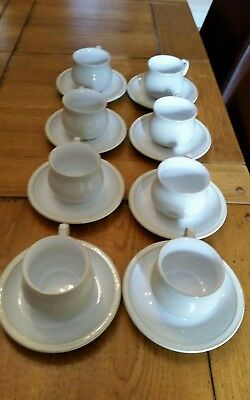 New denby coffee cups & scaucers linen 8 x
