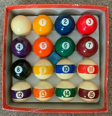 "Vintage Set Of Belgian Aramith 1 5/8"" Pool Balls (American - Spots & Stripes)"