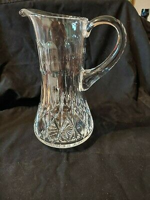 "Lead Crystal Water Pitcher Diamond Pattern  9 "" High Exc. Cond."