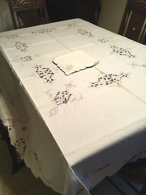 GORGEOUS Linen & Cutwork & Embroidered Tablecloth 70 x 86  & 8 Napkins 17""
