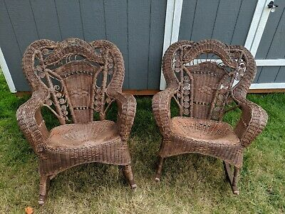 Antique Vintage Wicker Rattan Rocking Chair Set of 2 Brown Ornate Scrollwork