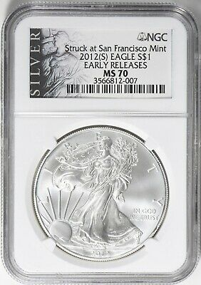 2012 S Silver Eagle Early Releases Struck at San Francisco NGC MS-70 ALS Label