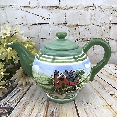Teapot Dairy Farm Countryside Red Barn Black White Cow Country Kitchen Home Deco