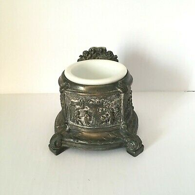 Victorian Milk Glass Shaving Cup and Ornate Metal Stand
