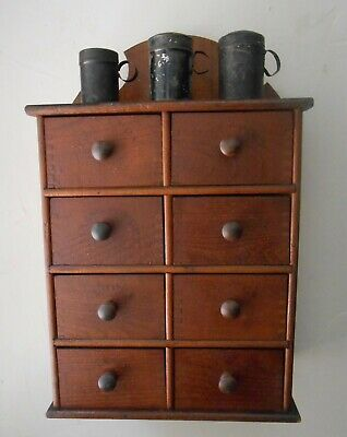 Antique Primitive Hanging Spice Apothecary Dovetailed Cabinet Cupboard  Label AA