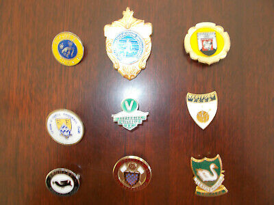 6 ENAMEL and 3 with plastic inserts NON-LEAGUE FOOTBALL CLUB BADGES.