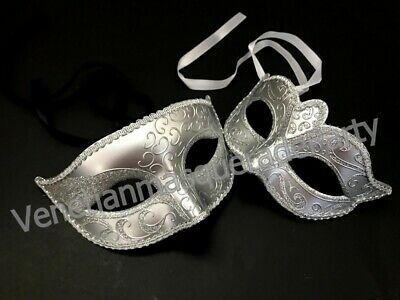Silver Masquerade theme Wedding Engagement Bridal Shower Party Couples Mask Pair