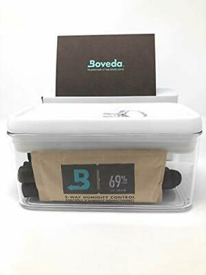 Acrylic Waterproof Travel Cigar Humidor with Boveda 69% Pack ,Holds 10 Cigars