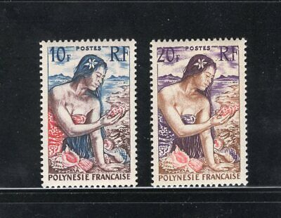 Lot 2 Old 1958 French Polynesia Mint 10fr/20fr Stamps Girl on Beach #189-190