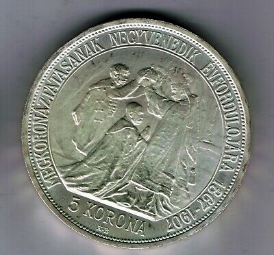 1907 Hungary silver 5 Korona coin : 24g : PROOF RESTRIKE from 1960's