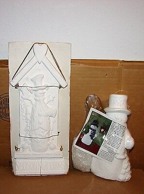 New Holiday Time Ready to Paint Frosty Lighting the Way & Snowman Plaque