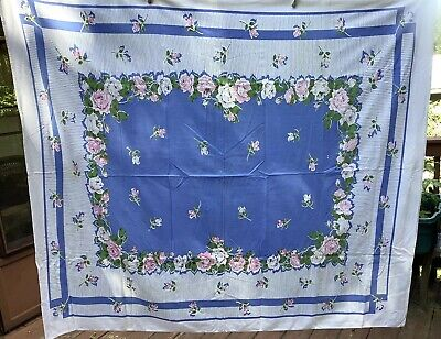 Vintage 1950's Tablecoth Pink & White Roses Rosebuds Blue Cotton