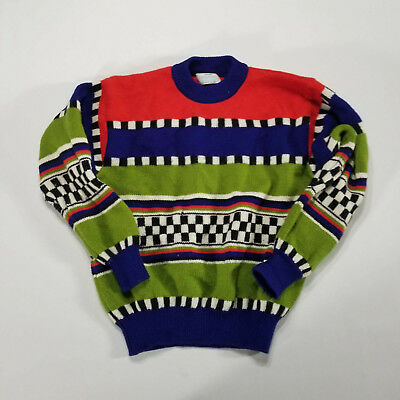 b374c809a0601 VTG 90S UNITED Colors of Benetton Sweater Italy Bright MEDIUM Stripe  checkered