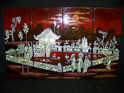 Vintage Vietnamese Asian Lacquer Mother Of Pearl Art Plaque 4 PC