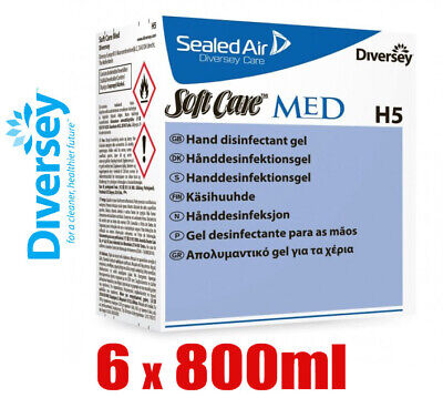 6 x Diversey 800ml Soft Care Med H5 Alcohol Based Disinfectant Hand Wash Gel