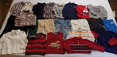 Boys 22 Mixed Huge Lot 18-24 M Pants Shirts Sweaters Vest Play Dress Clothes