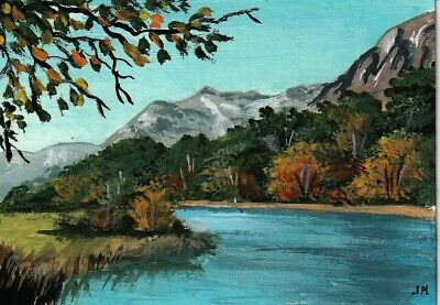 """aceo original acrylic painting """"Forest along the Lake"""" by J. Hutson"""