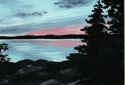 """aceo original acrylic painting """"Lake in Twilight"""" by J. Hutson"""