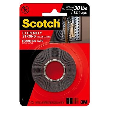 """3M Scotch Extremely Strong Double Sided Mounting Tape Indoor Outdoor 1"""" x 60"""""""