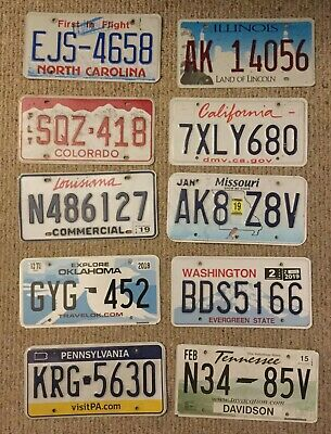 Mixed Lot 10 diff Expired/Invalid License Plate Sign Man Cave Craft TN NC CA IL