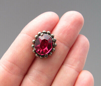 ANTIQUE Vintage Deco 1920's 1930's Ruby Red Single Rhinestone Button Prong Set
