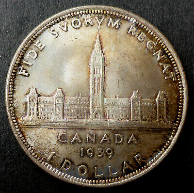 "Canada 1939 Silver Dollar Nice Looking Toned Coin ""Parliament Buildings"""