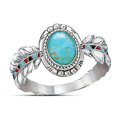 Vintage 925 Silver Turquoise Eagle Feather Ring Women Wedding Finger Rings Gifts
